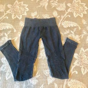 Navy Mineral Wash Moto Leggings